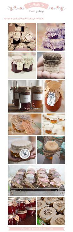 Ideas para decorar los Botes de Mermelada (mira cómo quedarían colocaditos en la caja de fruta...) Jam Packaging, Baking Packaging, Packaging Design, Canning Labels, Jar Labels, Honey Bottles, Coffee Jars, Jam Jar, Edible Gifts