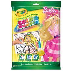 Conheça o incrível  Color Wonder Barbie, com ele as crianças poderão soltar a imaginação, colorindo os mais diversos desenhos, de forma segura e prática.  Isto porque as canetinhas Color Wonder só reagem quando em contato com o papel especial que vem junto com a embalagem. Sendo assim, os pais podem ficar tranquilos e deixar os pequenos artistas soltarem a criatividade, sem preocupação em manter a casa limpa.  Contém 18 folhas com desenhos para colorir  exclusivos e muito divertidos e 4…