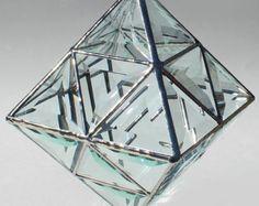 Escultura 3D contemporáneo vidrieras biselados - octaedro - grande colgante sol Catcher