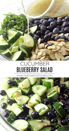 Cucumber Blueberry Salad recipe - by The Toasty Kitchen #salad #summer #spring #blueberry #cucumber #almonds #lemonvinaigrette #cucumbersalad #blueberrysalad #cucumberblueberrysalad #sidedish #picnicsidedish #freshsalad #fresh #lightsalad #recipe Fresh Salad Recipes, Salad Dressing Recipes, Healthy Salad Recipes, Lunch Recipes, Summer Recipes, Vegetarian Recipes, Easy Salads, Summer Salads, Perfect Salad Recipe