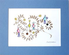 """ORIGINAL - """"QUIRKY LITTLE BIRDS"""" WATERCOLOUR PAINTING MOUNTED SIGNED BLUE 