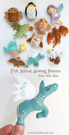 "Embroidery, craft patterns and kits made just for you by littledear ""Winged Ones"" Mini-Filz-Plüsch-Schnittmuster von Little Dear # Filzmuster Felt Patterns, Craft Patterns, Sewing Patterns Free, Felt Crafts, Fabric Crafts, Diy Crafts, Simple Crafts, Cardboard Crafts, Garden Crafts"