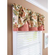 Better Homes and Gardens Gingham and Blooms Valance - Walmart.com - (L x W x H): 14.0 x 60.0 - WINDOW IS 2 X 3 SO THIS WOULD ONLY LEAVE A LITTLE OPEN AT THE BOTTOM..LIKE THE COLORS WITH THE RED, GREEN AQUA & GINGHAM