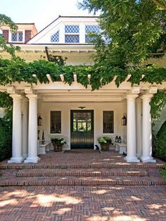Deck And Porches Back Patio Pergola.Pergola View 1 Photo: This Purpose Of This Project Was To . An Ordinary Patio Becomes A Beautiful Three Season Porch. 20 Welcoming Contemporary Porch Designs To Liven Up Your Home. Home and Family Patio Design, Exterior Design, Farmhouse Front Porches, House With Porch, Pergola Patio, Front Porch Pergola, Brick Porch, Wisteria Pergola, Windows