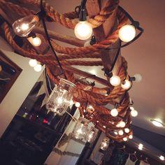Ladder + light + mason jars + rope = unreal