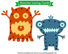 Lacing cards are the perfect way for toddlers and preschoolers to develop find motor skills. This post provides you with two printable monster lacing cards and simple assembly instructions. Gross Motor Activities, Language Activities, Craft Activities For Kids, Preschool Crafts, Crafts For Kids, Creative Activities, Preschool Ideas, Monster Classroom, Tangram