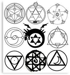 'FMA Transmutation Circles' Canvas Print by Will Mcmeekin Fullmetal Alchemist Mustang, Fullmetal Alchemist Alphonse, Full Metal Alchemist, Circle Symbol, Circle Canvas, Witch Tattoo, Anime Tattoos, Dream Tattoos, Ancient Symbols