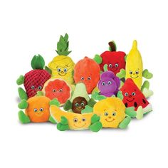 """Set of twelve characters are machine washable, feature embroidered faces, and range from 3"""" - 7"""" in height. Plush characters may change subject to availability. Fruit Garden Heroes® are adorable plush fruit bean-bag characters that can help educate and promote eating fruits. Set includes: • Andi Apple • Alonzo Avocado • Brianna Banana • Peter Pear • Stella Strawberry • Gordon Grape • Gracie Grapefruit • Olivia Orange • Pixie Peach • Pepe Pineapple • Roja Raspberry • Wanda Watermelon Shop the who Youth Activities, Eat Fruit, Healthy Eating Habits, Fruit Garden, Kids Nutrition, Healthy Kids, Fruits And Vegetables, Bowser, Pixie"""