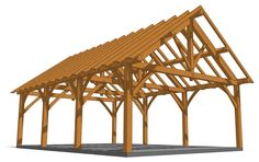 Check out this great plan! The super-strong roof structure of this 24x36 king post truss outbuilding means there is no need for a center post. Building A Carport, Axonometric Drawing, Backyard Pavilion, Structural Analysis, Outdoor Kitchen Countertops, Guest Cabin, Roof Trusses, Roof Structure, Roofing Systems
