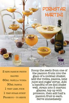 Fun and fruity - the Pornstar Martini is a saviour of Summer! Party Drinks, Cocktail Drinks, Alcoholic Drinks, Summer Cocktails, Cocktail Ideas, Fall Drinks, Party Party, Beverages, Martini Recipes