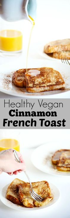This Healthy VEGAN Cinnamon French Toast is the perfect healthy weekend breakfast! It's soft, flavorful and really easy! *minus the non-vegan bread* Vegan Treats, Vegan Foods, Vegan Dishes, Easy Vegan Meals, Easy Meals, Vegan Recipes Easy, Weight Watcher Desserts, Whole Food Recipes, Cooking Recipes