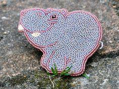 Beaded brooch Hippo / Броши ручной работы. Ярмарка Мастеров - ручная работа. Купить Крупная брошь Веселый бегемотик. Handmade. Голубой, брошь бегемот