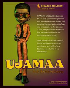 Ujamaa, the Entrepreneur, represents Cooperative Economics FB- Created by Crosby (ARTIST) Days Of Kwanzaa, Happy Kwanzaa, Kwanzaa 2016, Black Children's Books, Kwanzaa Principles, African Words, Black Authors, African American Culture, Teachers Aide
