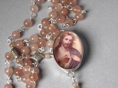 Jesus  Rosary Soldered Glass Enshrined by AWingAndAPrayerGifts