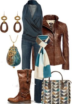 Leather & Stone. Like the jacket and shoes and scarf plus jeans and ear rings