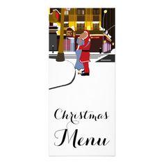 Santa's Kiss On Broadway Christmas Menu Rack Card