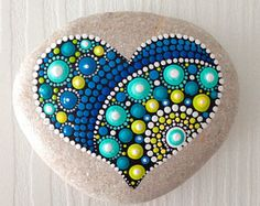 Heart Dot Art Mandala Painted Stone Fairy Garden Gift Decoration Painted rock Beachstone