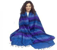 Meditatiedeken XL blauw/violet - 115x245 cm -