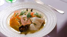 Three fish with choucroute (choucroute de la mer) recipe : SBS Food Sauce Recipes, Fish Recipes, Seafood Recipes, Mussel Recipes, Cooking Wine Recipes, Pickled Fish Recipe, French Sauces, Cooking With White Wine, Pickled Cabbage
