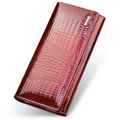 Women's long double zipper wallet. Red Purses, Purses And Handbags, Cheap Handbags, Luxury Handbags, Stylish Handbags, Coin Purses, Cheap Purses, Womens Purses, Long Wallet