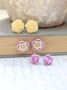 Purple Flower Earrings Stud Earrings Surgical by apocketofposies, $28.00