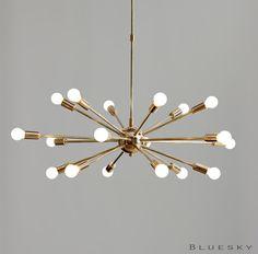 Atomic 18 Lights Arms Sputnik Starburst Light Fixture Chandelier - Mid Century Brass Atomic Ceiling Fixture