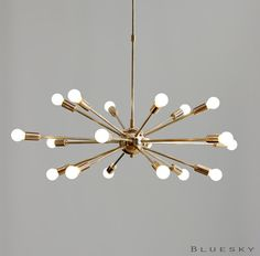 Atomic 18 Lights Arms Sputnik Starburst Light Fixture Chandelier - Mid Century Brass Atomic Ceiling Fixture