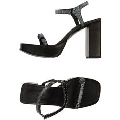 Surface To Air Sandals (3,370 PHP) ❤ liked on Polyvore featuring shoes, sandals, heels, black, rubber sole shoes, velcro strap shoes, velcro shoes, black leather sandals and black shoes
