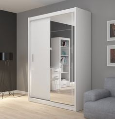 FADO white mirrored 2 door wardrobe closet with sliding doors mirror shelves hanging clothes rail bedroom hallway furniture Large Living Room Furniture, Fitted Bedroom Furniture, Fitted Bedrooms, Hallway Furniture, Bedroom Decor, Small Bedrooms, Sliding Mirror Wardrobe Doors, White Sliding Wardrobe, 2 Door Wardrobe