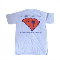 """Our classic state t-shirts are perfect for gameday or every day. - 100% cotton - Pre-shrunk, washed t-shirt - State Traditions logo on front left chest - State logo with """"State Traditions"""" and """"What's"""