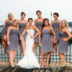 Pewter Strapless Bridesmaid Dresses // James Bass Photography // http://www.theknot.com/weddings/album/145644