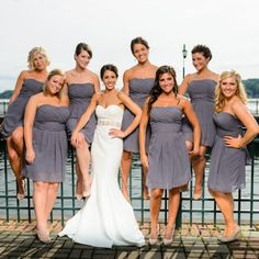 Pewter Strapless Bridesmaid Dresses // James Bass Photography // http://www.theknot.com/weddings/album/145644