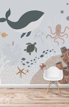 Sea Nursery, Nursery Room, Nursery Decor, Ocean Themed Nursery, Wall Paper Nursery, Calming Nursery, Safari Theme Nursery, Nursery Wall Stickers, Kids Room Wallpaper