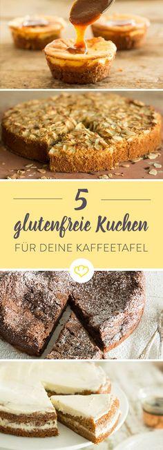Wie lecker glutenfreie Kuchen sein können, beweisen diese fünf Köstlichkeiten. Ohne Mehl, aber mit viel Schokolade, Nüssen und Mandeln.