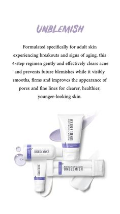 Do you suffer with breakouts? With our Unblemish Regimen, say good-bye to acne, and signs of aging and help gorgeous skin! Unblemish Rodan And Fields, Rodan And Fields Soothe, Rodan And Fields Canada, Adult Acne Treatments, Rodan And Fields Consultant, Acne Marks, Acne Blemishes, Younger Looking Skin