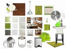 Light floor, dark lower cabinets, olive green beadboard backsplash, white upper cabinets, sterling silver appliances + SPICES :)