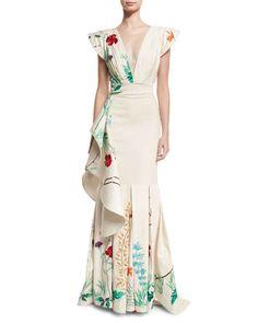 Johanna Ortiz Lanca Floral Deep-V Bodysuit, White Cicilia Floral Ruffled Skirt, White Stylish Dresses, Simple Dresses, Lovely Dresses, Skirt Fashion, Fashion Dresses, Simple Work Outfits, Cute Skirts, Dress Suits, The Dress