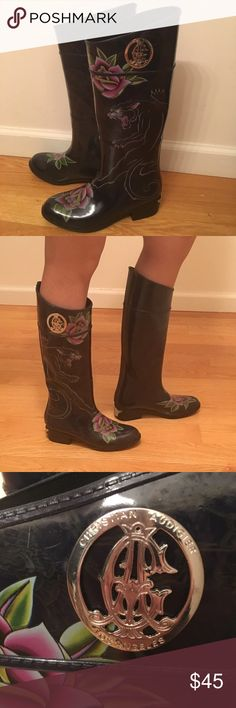 Christian Audigier rain boots. Size 8. Christian Audigier women's rain boots. Gently used. In a very good condition. Size 8. Christian Audigier Shoes Winter & Rain Boots
