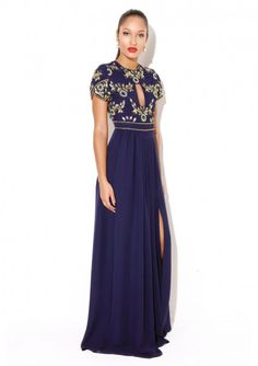 """Embellished Dress Made from a lightweight polyfabricShort-sleeve Maxi DressKeyhole frontGathered skirt with slit Fabric:100 % Polyester Care: Delicate Hand Wash Model is a size 8 and wearing a UK size 8 Model Height: 5""""8, Ivana Navy, IVANANAVY"""