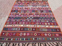"""Vintage Turkish Kilim Rug,Modern Kilim,Wool Rug,Rugs 64,5""""x95,6"""" Area Rug,Carpet #Turkish"""