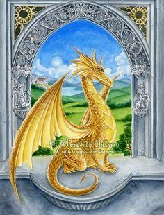 Golden Dragon illustration fantasy art print by meredithdillman