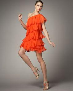 HaLston Heritage one-shouLder ruffLe dress