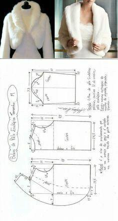 Fur bolero sewing pattern making Coat Patterns, Dress Sewing Patterns, Sewing Patterns Free, Sewing Tutorials, Clothing Patterns, Sewing Tips, Bolero Pattern, Jacket Pattern, Fashion Sewing