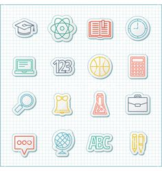 School and education flat design line icons set vector by Dimasic50 on VectorStock®