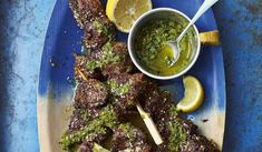 Make the fresh and summery Caribbean-inspired beef kebabs Ainsley Harriott made on ITV This Morning from his new book, Ainsley's Caribbean Kitchen. They're the perfect BBQ dish. Beef Skewers, Kebabs, Ainsley Harriott, Grilled Sardines, Onion Bhaji, Marinated Beef, Poached Pears, Spiced Coffee, Coleslaw
