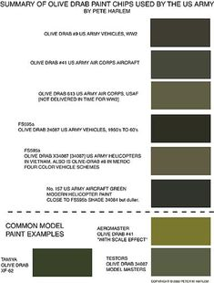 Summary of Olive Drab paint chips used by the US army. Now, Olive might not be the most popular neutrals, but it is neutral nevertheless.