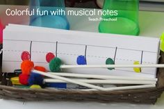 music notes As part of our unit on xylophones, we invited the children to explore some simple and colorful fun with musical notes. This process was a little different for our students t Music Activities For Kids, Preschool Themes, Music For Kids, Kids Songs, Preschool Crafts, Teach Preschool, Preschool Weather, Work Activities, Music Crafts