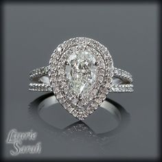 Pear Shaped Diamond Engagement Ring with Diamond Double Halo - LS1401. $6,633.50, via Etsy.