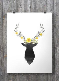 Printable art | Deer Watercolor Buttercup garland crown | Deer with branch antlers and buttercups | Watercolor ink deer stag art print