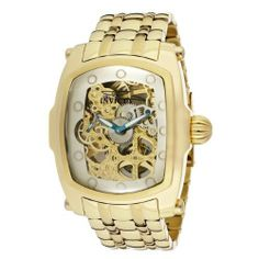 Invicta Men's 1253 Lupah Mechanical Gold Tone Skeleton Dial 18k Gold Ion-Plated Stainless Steel Watch Invicta. $199.99. Gold tone skeleton dial with white mother of pearl border, blue metallic and white hands, gold tone hour markers; luminous; exhibition case back; 2 additional interchangeable leather straps with reptile pattern. Flame-fusion crystal; 18k gold ion-plated stainless steel case and bracelet. 60 second subdial at 9:00. Mechanical hand wind movement....